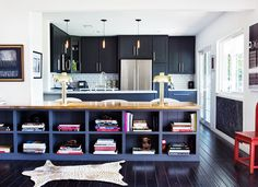 Black Kitchen Cabinets, Contemporary, kitchen, House of Honey Black Kitchen Cabinets, Black Kitchens, Home Kitchens, Brass Kitchen, Kitchen Black, Navy Cabinets, Colorful Kitchens, Shaker Cabinets, Inside Cabinets