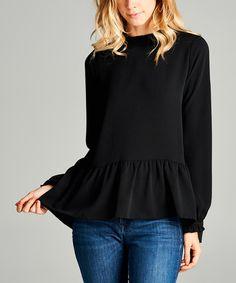 Love this Black Frill Collar Peplum Top on #zulily! #zulilyfinds
