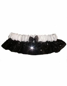 Black and White Crystal Bridal Garter - Wedding Garter