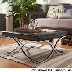 Solene X Base Square Ottoman Coffee Table - Chrome by iNSPIRE Q Bold ([Dark Brown PU]- Smooth Top), Size Large