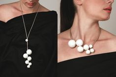 Ceramic necklace with a minimal design composed of hollow balls, handcrafted and tied together by a leather string. The COSTELLAZIONE SOTTACQUA balls in the pearl version have been painted by hand and put into the oven for a third time, at 700 degrees. It may be worn as a pendent or a choker, letting the smaller ball hook to the central bunch. Light, elegant and precious, it is perfect for every look.