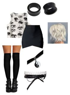 """Black and white party"" by italiamaria ❤ liked on Polyvore featuring Boohoo, Fallon and NOVICA"