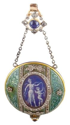 A Belle Epoque enamel diamond and sapphire yellow gold chatelaine watch, by…