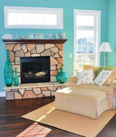 Super fresh and bright aqua painted living room. A color for those who are looking for a serious beach vibe! Spotted on Facebook. Browse coastal and beach theme living rooms on Completely Coastal.