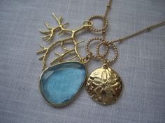 Blue Bezel Set Stone in Gold Necklace with Coral by vudesignstudio, $60.00