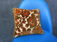 60's Mid Century Crushed Velvet Square Throw Pillow