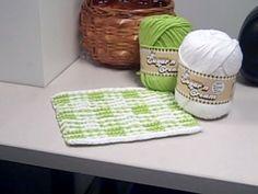 Gingham Checks Illusion dishcloth knitting pattern
