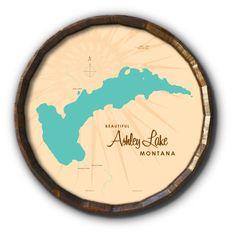 Ashley Lake Montana, Barrel End Map Art - 21 x 21 inches / Navy