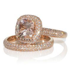 Morganite ring 7mm cushion micro pave halo engagement ring
