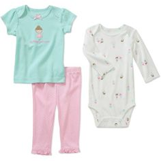 Child of Mine by Carters Newborn Girls' 3 Piece Heart Animal Tee's and Pant Set