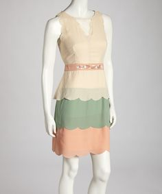 Take a look at this Ryu Salmon & Cream Dress on zulily today!