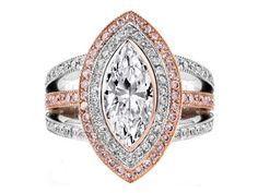 Engagement Ring -Marquise Diamond Engagement Ring Pink Diamonds Halo Trio Band-ES1119