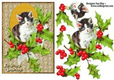 Vintage Christmas Cat Card Front and Decoupage