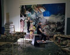 """Adrian Ghenie, painter: 'He chooses not to use the traditional tools of the painter opting for a palette knife and stencils. There is not a brush in sight. """"You cannot paint this with a brush. It's simply the result of an accident. Everything is an accident. Very few things are actually painted."""""""