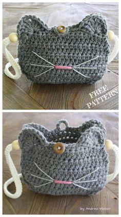 Crochet Cat Purse Free crochet patterns - knitting is as easy as . - crochet Crochet Cat Purse Free crochet patterns – knitting is as easy as … – crochet patterns – Chat Crochet, Crochet Mignon, Crochet Tote, Crochet Handbags, Crochet Purses, Crochet Crafts, Crochet Baby, Crochet Projects, Crochet Ideas