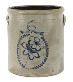 Six-gallon stoneware crock, c., with a cobalt flower in wreath decoration, h. on Mar 2014 Antique Crocks, Old Crocks, Antique Stoneware, Stoneware Crocks, Antique Pottery, Earthenware, Pottery Art, Red Wing Stoneware, Glazes For Pottery
