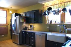 pot rack over the sink to hang them quickly after hand-washing- clever!    http://bungalowchronicles.com/wp-content/uploads/2012/08/after-kitchen2.jpg