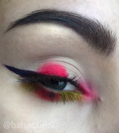 Japan makeup inspired red Lime green