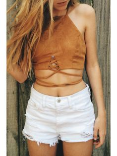Lace Up Pure Color Cami Crop Top - BROWN S