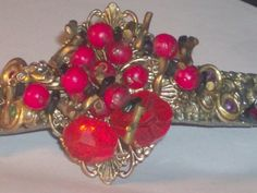 Unique Red Bracelet Rhinestone with gold inlay beads