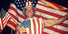"""I'll Be Back"""": Arnold Schwarzenegger wrapped himself in American flags on the day he received his American citizenship; a mere prediction of his political future? Oh yes, he was definitely back."""