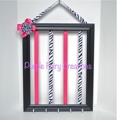 Accessories Organizer Picture Frame - Black, White, Zebra Print, Hot Pink and Hooks (Hair Bow Headband Holder) Baby Girl, Girl or Teen Room Wall Decor (Organizador de Accesorios del Cabello / Pelo para Niña) by PurpleFairyCreations