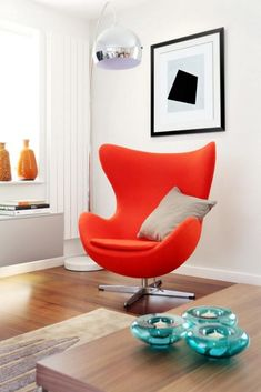 Orange egg accent chair - jacobsen swan #chair #livingroomchairs #livingroomfurniture