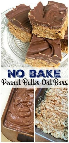 Easy peasy No Bake Peanut Butter Oat Bars with just three healthy ingredients - and then plenty of chocolate on top! Quick and easy recipe #RawFoodDiet