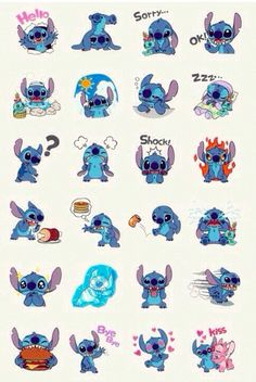 Love it and thought of you- the many expressions of stitch.