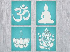Yoga Om wall art set. Four printable files: the Om symbol, Buddha, Lotus Flower and Ganesha silhouettes in the look of watercolor paper