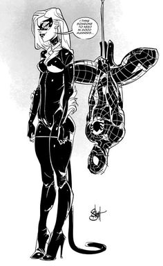 Black Cat and Spider-Man by Otto Schmidt