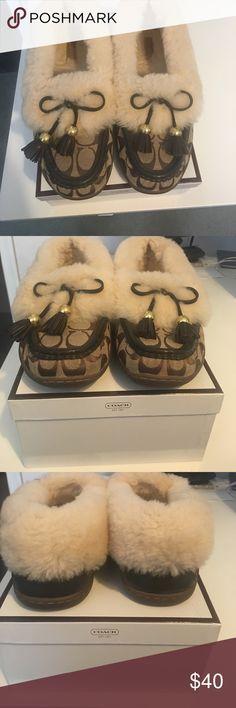 Coach fur slippers moccasins Coach fur slippers moccasins Shoes Moccasins
