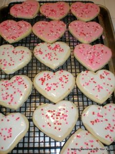 Making frosted valentine sugar cookies...my sisters & I loved to do this with our Mom ♥