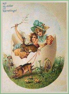 Victorian Easter Postcard ~ PAPIROLAS COLORIDAS