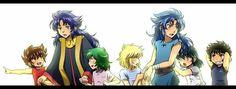 Seiya, Saga, Shun, Hyoga, Kanon, Shiryu e Ikki