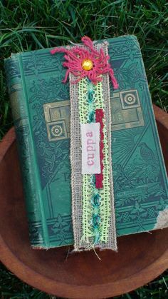 burlap and lace fabric bookmark by BookstoreCafe on Etsy, $7.00