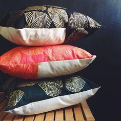 Raga Cushions printed in gold ink for the festive season. www.fictivefingers.com