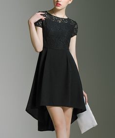 Take a look at this Birryshop Black Lace Hi-Low Dress today!