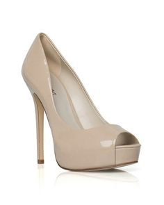 The Maxina - The glossy patent on this sultry peep toe platform accents sleek lines and a slim heel.