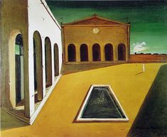 Painting by Giorgio de Chirico. source of inspiration for Aldo Rossi evidenced in his cemetery, San Cataldo, in Modena, Italy. Italian Painters, Italian Artist, Magritte, Format Raisin, Villa Romaine, Bg Design, Francis Picabia, Traditional Paintings, Surreal Art