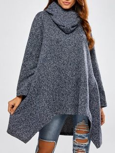 Modern Solid Colour Fall Spring Hooded Womens Asymmetric Sweater,Cheap Trendy on Sale!