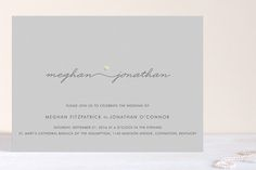 """Love Connection"" - Modern, Simple Foil-pressed Wedding Invitations in Gold by Kim Dietrich Elam."