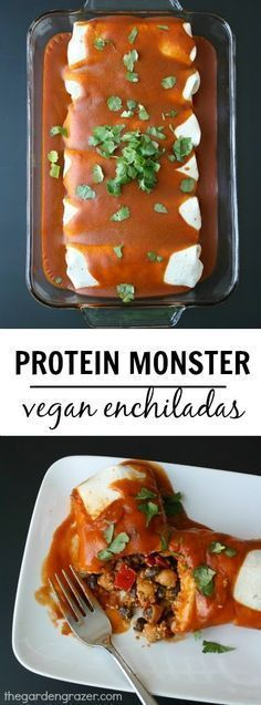 Monster Vegan Enchiladas Vegan protein powerhouse enchiladas with an amazing homemade sauce! Each enchilada has a whopping of plant protein from non-soy sourcesVegan protein powerhouse enchiladas with an amazing homemade sauce! Each enchilada has a who Veggie Recipes, Mexican Food Recipes, Whole Food Recipes, Vegetarian Recipes, Cooking Recipes, Healthy Recipes, Delicious Recipes, Mexican Desserts, Freezer Recipes