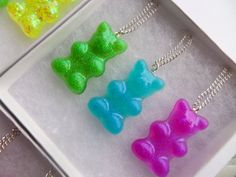Pic 'n' Mix Set Of Three Candy Gummybears Sweets Charm Pendant Necklace Festival Glitter Cute Kawaii Jewelry, Dog Tag Necklace, Jewelry Collection, Handmade Jewelry, Pendant Necklace, Sweets, Silver, Gifts, Etsy