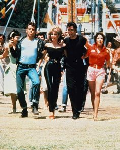 Final Scene in Grease with Olivia Newton John wearing the tight black spandex outfit that turned a lot of heads in the theaters