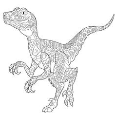 Velociraptor Dinosaur - Chromatic Creations - Free Style Embroidery, Better than Adult Coloring Book Page! Color by Thread! by ArtisticIntentionsUS on Etsy Dinosaur Coloring Pages, Adult Coloring Book Pages, Animal Coloring Pages, Colouring Pages, Printable Coloring Pages, Coloring Pages For Kids, Coloring Sheets, Coloring Books, Coloring Worksheets