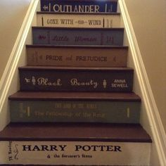 Book spine staircase close ups
