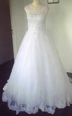 #Valentines #AdoreWe #Dorris Wedding - #Dorris Wedding Sleeveless Lace-Appliqued Tulle Jewel Neck Dress With Beadings - AdoreWe.com