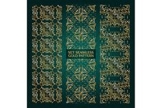 Set of 3 golden lace pattern green by nastyaaroma on @creativemarket