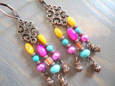 Vintage Gypsy Colorful Chandelier Earrings by BijouxFan, on Etsy